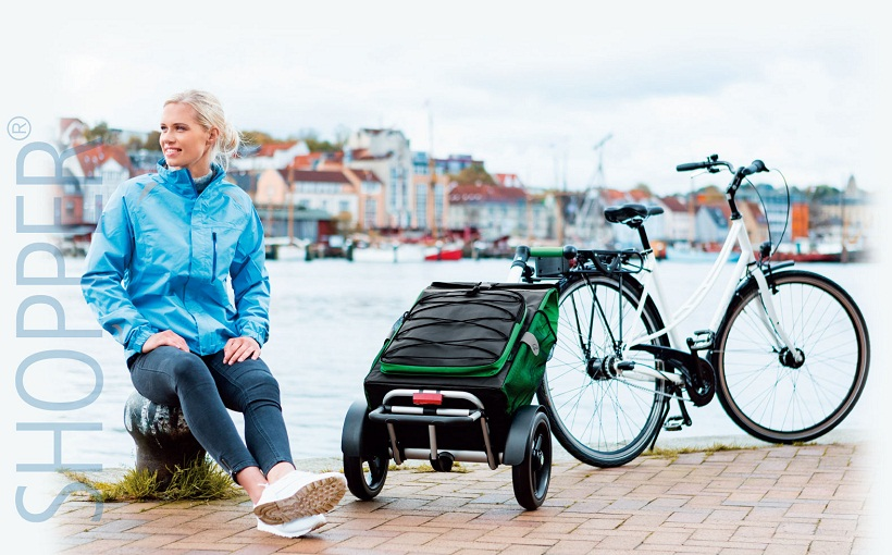 С сумкой-тележкой на велосипеде на прогулку, за город, на дачу!